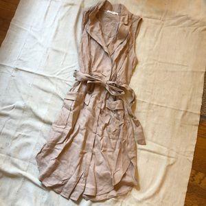 Taupe linen summer sleeveless dress